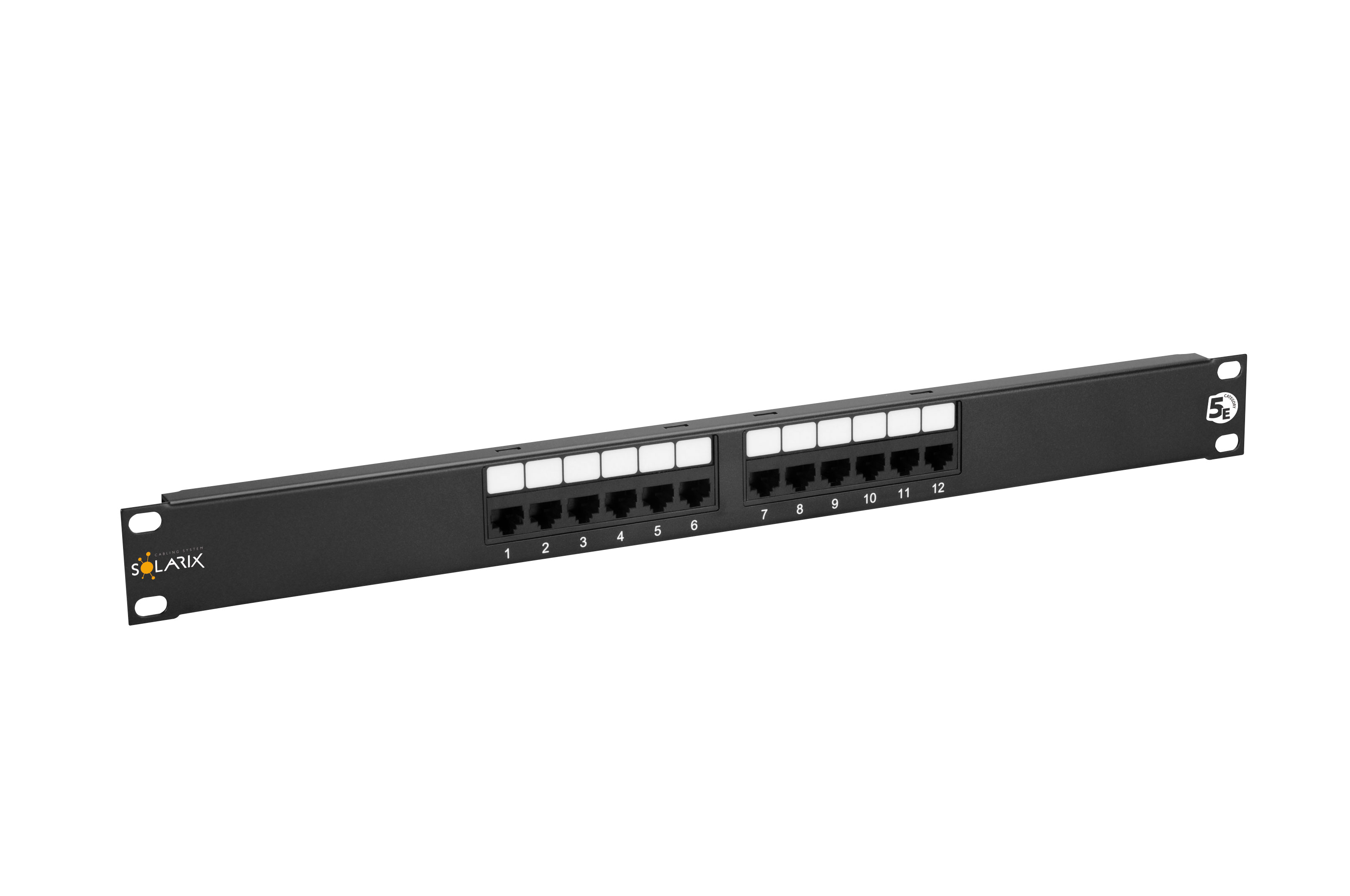 "19"" Patch panel Solarix 12 x RJ45 CAT5E UTP 150 MHz černý 1U"