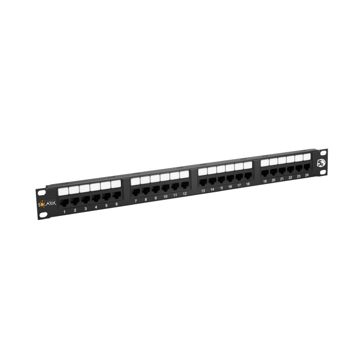 "19"" Patch panel Solarix 24 x RJ45 CAT5E UTP 150 MHz černý 1U"