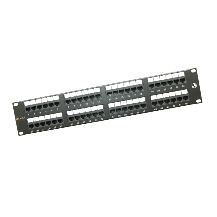 "19"" Patch panel Solarix 48 x RJ45 CAT5E UTP 150 MHz černý 2U"