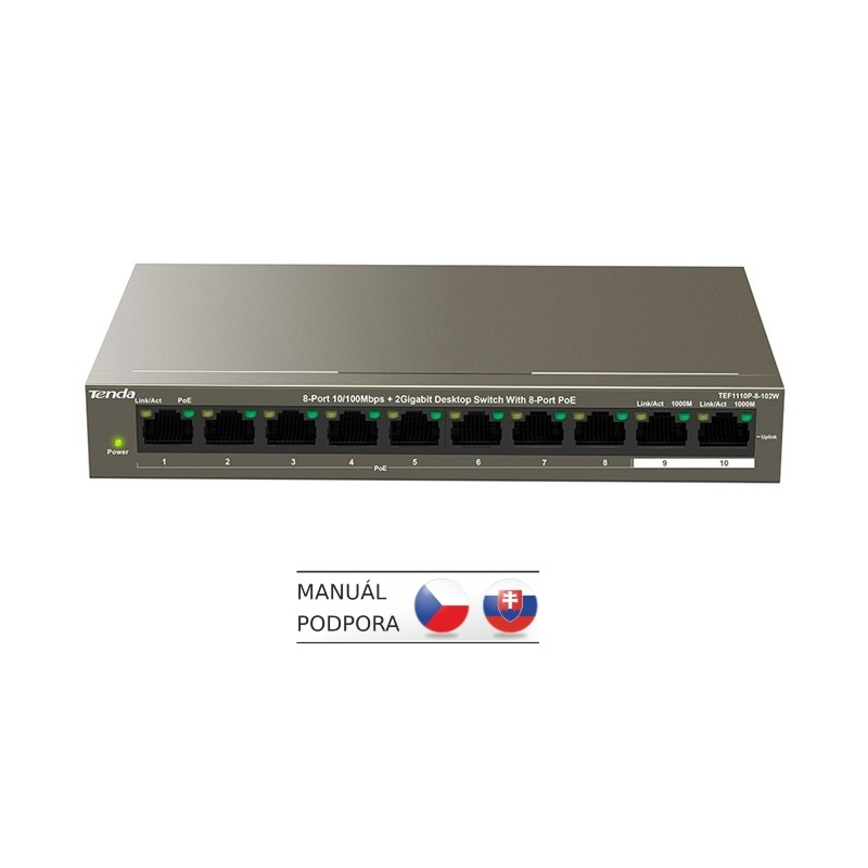 Tenda TEF1110P-8-102W 10xRJ45 Switch(8xPoE 802.3af/at 10/100Mbps,2x Uplink 1Gbs),102W
