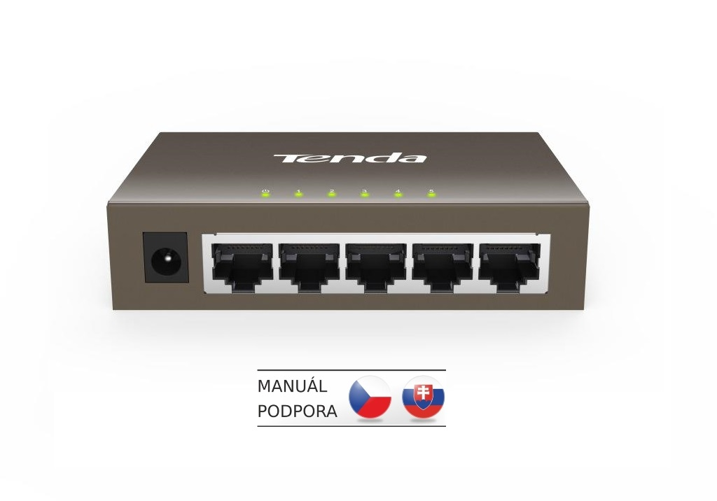 Tenda TEG1005D - 5-port 10/100/1000Mb/s Gigabit Ethernet Switch, Fanless. kov.